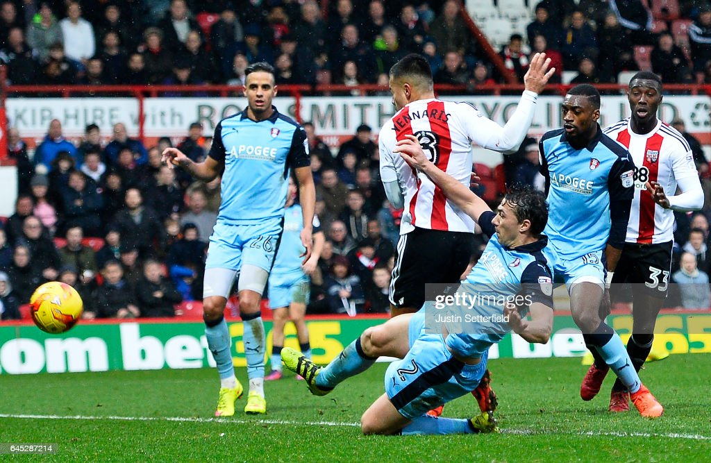 Nico Yennaris of Brentford FC scores the 2nd Brentford goal during the Sky Bet Championship match between Brentford and Rotherham at Griffin Park on February 25, 2017 in Brentford, England.