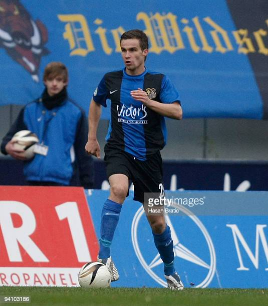 Nico Zimmermann of Saarbruecken plays the ball during the Regionalliga match between 1 FC Saarbruecken and Wormatia Worms at the Ludwigspark stadium...