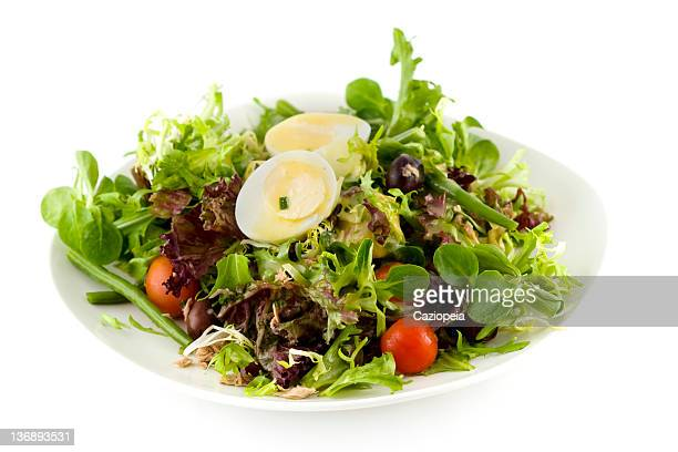 nicoise salad - side salad stock pictures, royalty-free photos & images