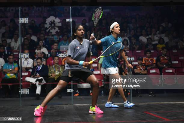 Nicol Ann David of Malaysia competes against Sivasangari Subramaniam of Malaysia during Women's Squash Singles Final on day eight on day eight of the...