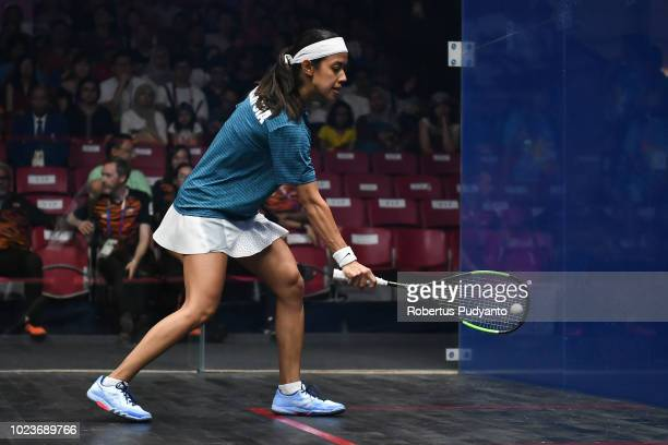 Nicol Ann David of Malaysia competes against Sivasangari Subramaniam of Malaysia during Women's Squash Singles Final on day eight of the Asian Games...