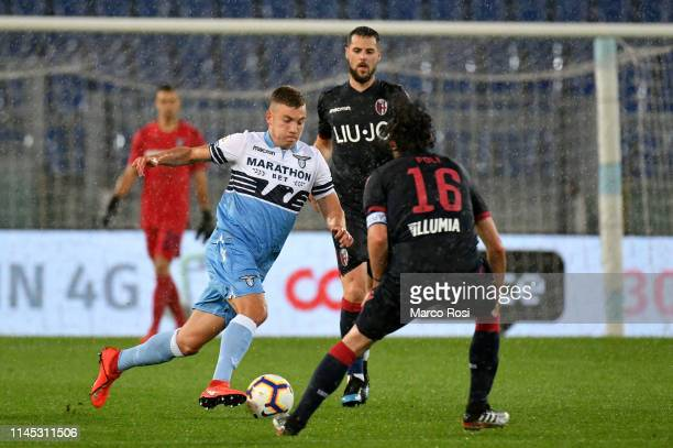 Nicol˜ Armini of SS Lazio compete for the ball with Antonio Pulgar of Bologna FC during the Serie A match between SS Lazio and Bologna FC at Stadio...