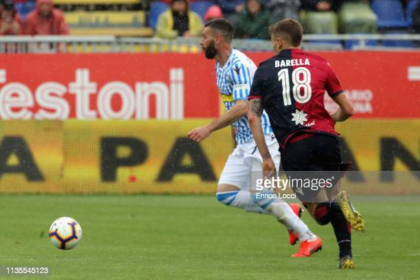 Nicolò Barella of Caglairi in action during the Serie A match between Cagliari and SPAL at Sardegna Arena on April 7 2019 in Cagliari Italy