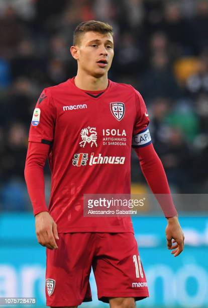 Nicolò Barella of Cagliari Calcio in action during the Serie A match between Udinese and Cagliari at Stadio Friuli on December 29 2018 in Udine Italy