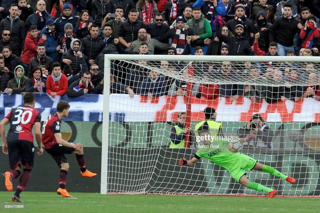 Nicol Barella of Cagliari Calcio scores a second goal a penalty during the serie A match between Cagliari Calcio and SS Lazio at Stadio Sant'Elia on March 11, 2018 in Cagliari, Italy.
