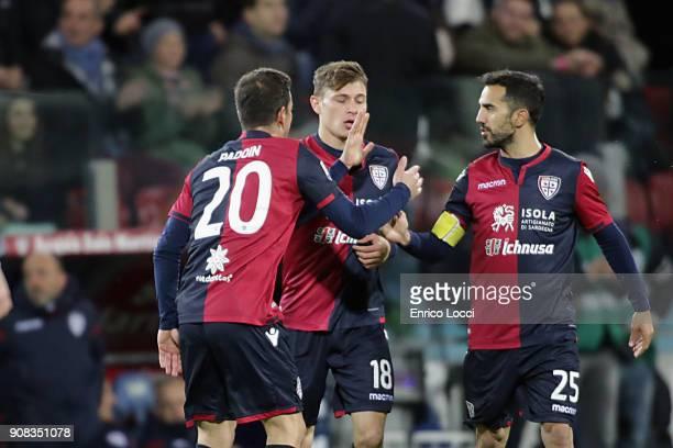 Nicolò Barella of Cagliari celebrates his goal 10 during the serie A match between Cagliari Calcio and AC Milan at Stadio Sant'Elia on January 21...