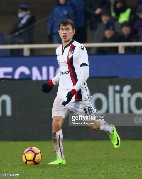 Nicolò Barella of Cagliari during the Serie A match between Atalanta BC and Cagliari Calcio at Stadio Atleti Azzurri d'Italia on February 5 2017 in...