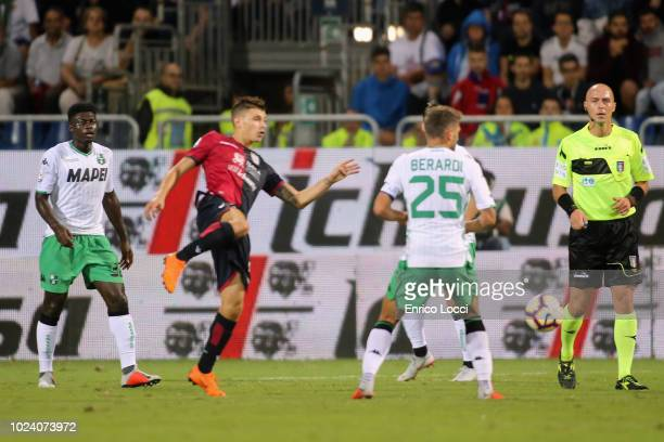 Nicolò Barella of CAgliari in action during the serie A match between Cagliari and US Sassuolo at Sardegna Arena on August 26 2018 in Cagliari Italy