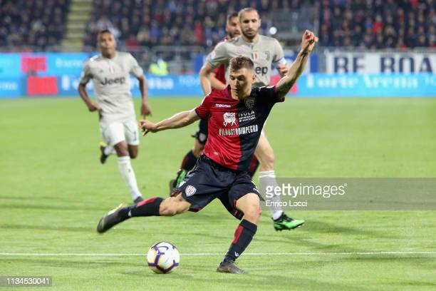 Nicolò Barella of Cagliari in action during the Serie A match between Cagliari and Juventus at Sardegna Arena on April 2 2019 in Cagliari Italy