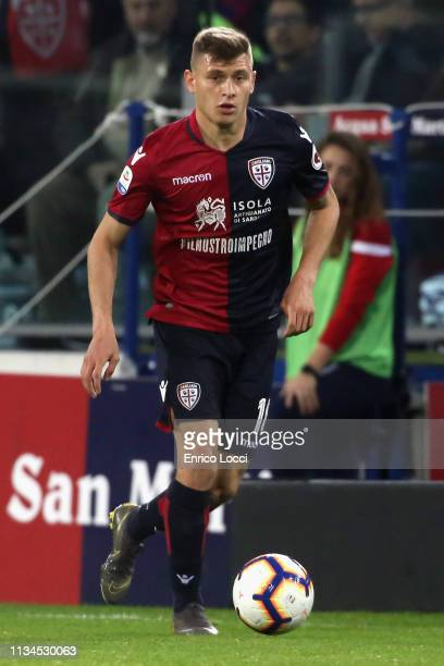 Nicolò Barella of Cagliari in action during the Serie A match between Cagliari and Juventus at Sardegna Arena on April 2, 2019 in Cagliari, Italy.