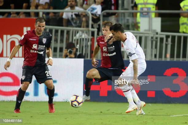 Nicolò Barella of Cagliari in contrast during the serie A match between Cagliari and AC Milan at Sardegna Arena on September 16 2018 in Cagliari Italy