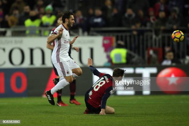 Nicolò Barella of Cagliari in contrast during the serie A match between Cagliari Calcio and AC Milan at Stadio Sant'Elia on January 21 2018 in...