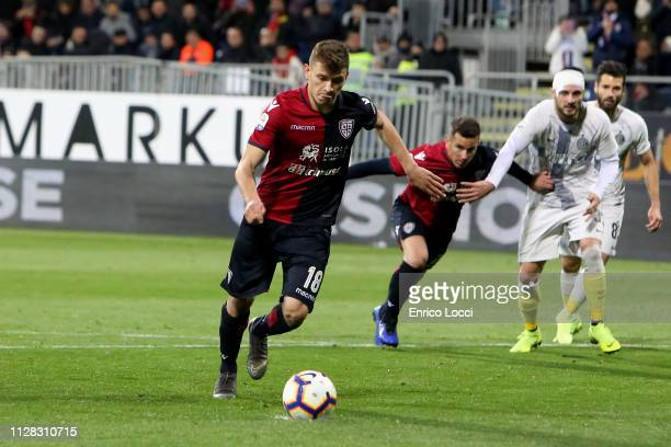 Nicolò Barella of Cagliari misses a penalty during the Serie A match between Cagliari and FC Internazionale at Sardegna Arena on March 1 2019 in...
