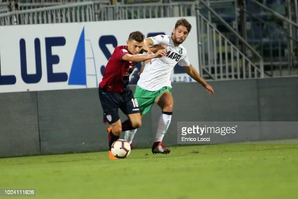 Nicolò Barella of Cagliri during the serie A match between Cagliari and US Sassuolo at Sardegna Arena on August 26 2018 in Cagliari Italy