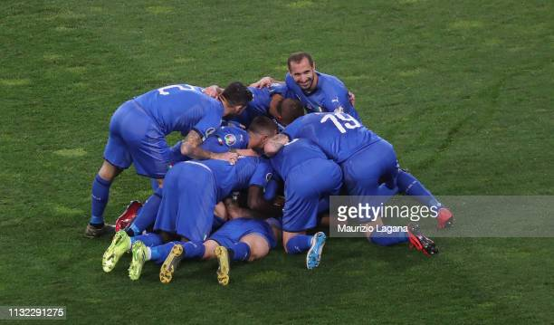 Nicolò Barella of Italy celebrates after scoring his team's opening goal during the 2020 UEFA European Championships group J qualifying match between...