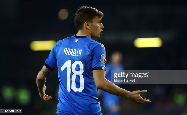 Nicolò Barella of Italy gestures during the 2020 UEFA European Championships group J qualifying match between Italy and Finland at Stadio Friuli on...