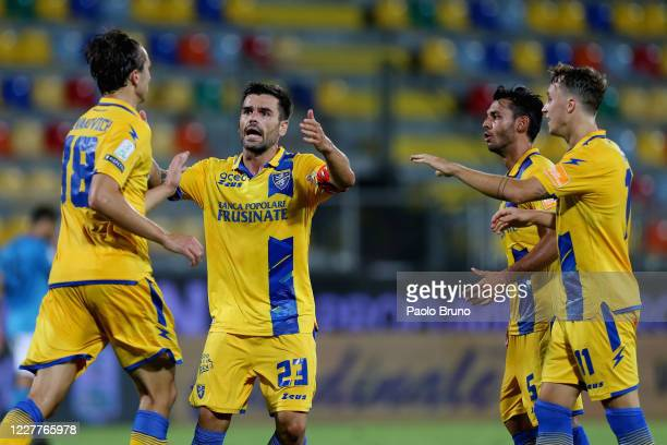 Nicolò Brighenti of Frosinone Calcio celebrates after scoring the team's first goal during the Serie B match between Frosinone Calcio and Benevento...