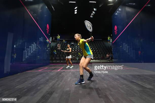 Nicol David of Malaysia and Donna Urquhart of Australia practice during the Squash Sports Showcase at Oxenford Studios on March 22 2018 in Gold Coast...
