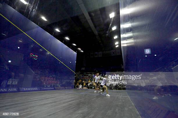 Nicol David of Malaysia and Rebecca Palllikal Dipika of India competes during Squash Womens Team Final during day eight of the 2014 Asian Games at...