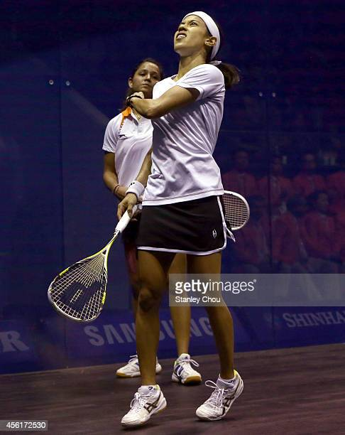 Nicol David of Malaysia celebrates after beating Rebecca Palllikal Dipika of India during Squash Womens Team Final during day eight of the 2014 Asian...