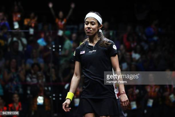 Nicol David of Malaysia celebrates after winning her Women's Singles Quarter Final squash match against Alison Waters of England on day three of the...