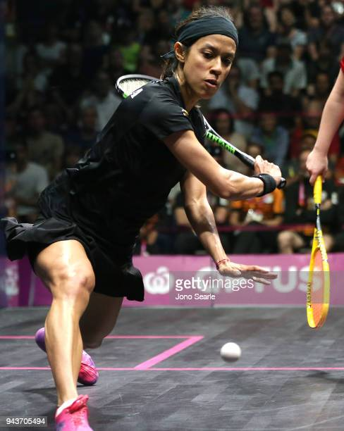 Nicol David of Malaysia competes against Tesni Evans of Wales during squash in the women single Bronze Medal match on day five of the Gold Coast 2018...