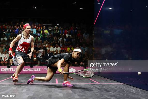 Nicol David of Malaysia plays a backhand during her Women's Singles Quarter Final squash match against Alison Waters of England on day three of the...