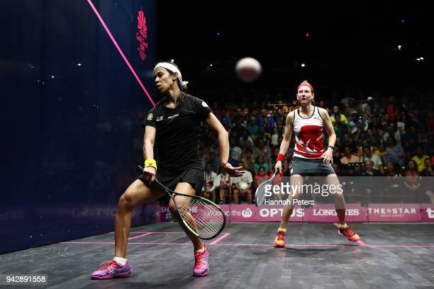 Nicol David of Malaysia plays a forehand during her Women's Singles Quarter Final squash match against Alison Waters of England on day three of the...