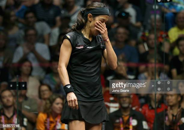 Nicol David of Malaysia reacts during squash against Tesni Evans of Wales in the women single Bronze Medal match on day five of the Gold Coast 2018...