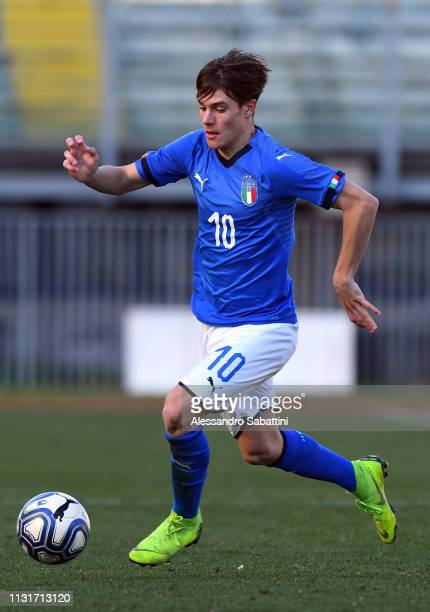 Nicolò Fagioli of Italy U21 in action during the UEFA Elite Round match between Italy U19 and Belgium U19 at Stadio Euganeo on March 20 2019 in...