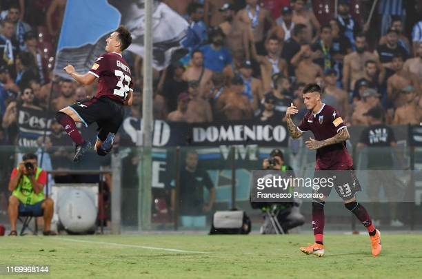 Nicolò Giannetti and Fabio Maistro of US Salernitana celebrate the 3-1 goal scored by Nicolò Giannetti during the Serie B match between Salernitana...