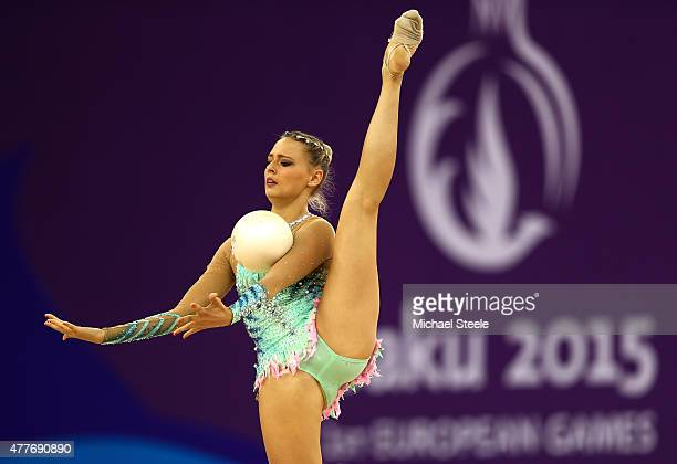 Nicol Ruprecht of Austria competes in the Rhythmic Gymnastics Inidivdual AllAround Final during day seven of the Baku 2015 European Games at the...