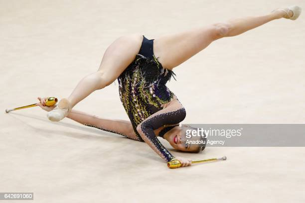 Nicol Ruprecht of Austria performs during the International Rhythmic Gymnastics Championship at the Alina Cup Grand Prix 2017 event in Moscow Russia...