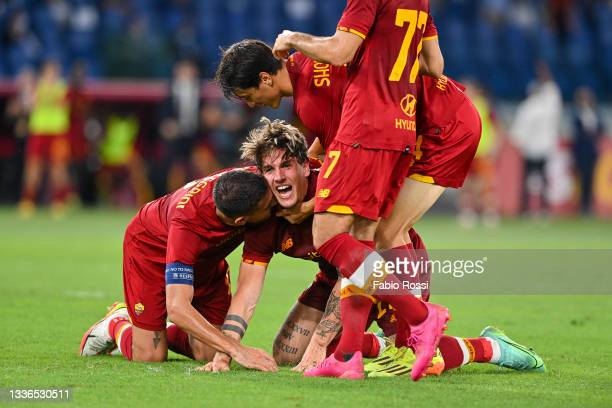 Nicolò Zaniolo celebrates with teammates after scoring the second goal of his team during the UEFA Conference League Play-Offs Leg Two match between...