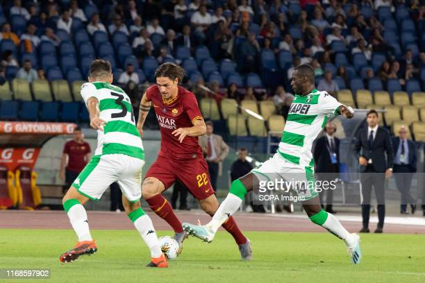 Nicolò Zaniolo in action during the Serie A match between AS Roma and Sassuolo at Olimpico Stadium