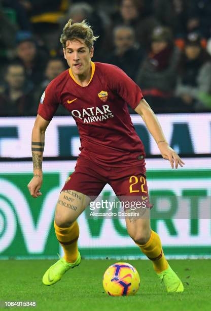 Nicolò Zaniolo of AS Roma in action during the Serie A match between Udinese and AS Roma at Stadio Friuli on November 24 2018 in Udine Italy