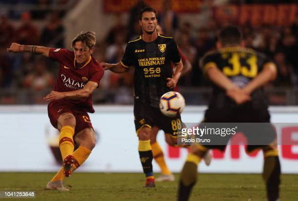 Nicolò Zaniolo of AS Roma kicks the ball during the Serie A match between AS Roma and Frosinone Calcio at Stadio Olimpico on September 26 2018 in...