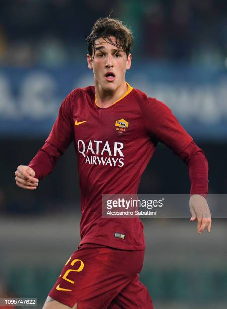 Nicolò Zaniolo of AS Roma looks on during the Serie A match between Chievo Verona and AS Roma at Stadio Marc'Antonio Bentegodi on February 8 2019 in...