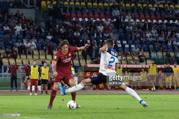 Nicolò Zaniolo of AS Roma seen in action during the Serie A match between AS Roma and Atalanta at Olimpico Stadium