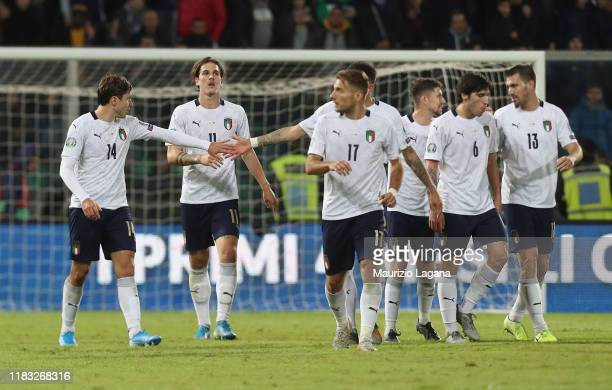 Nicolò Zaniolo of Italy celebrates after scoring his team's opening goal during the UEFA Euro 2020 Qualifier between Italy and Armenia on November 18...