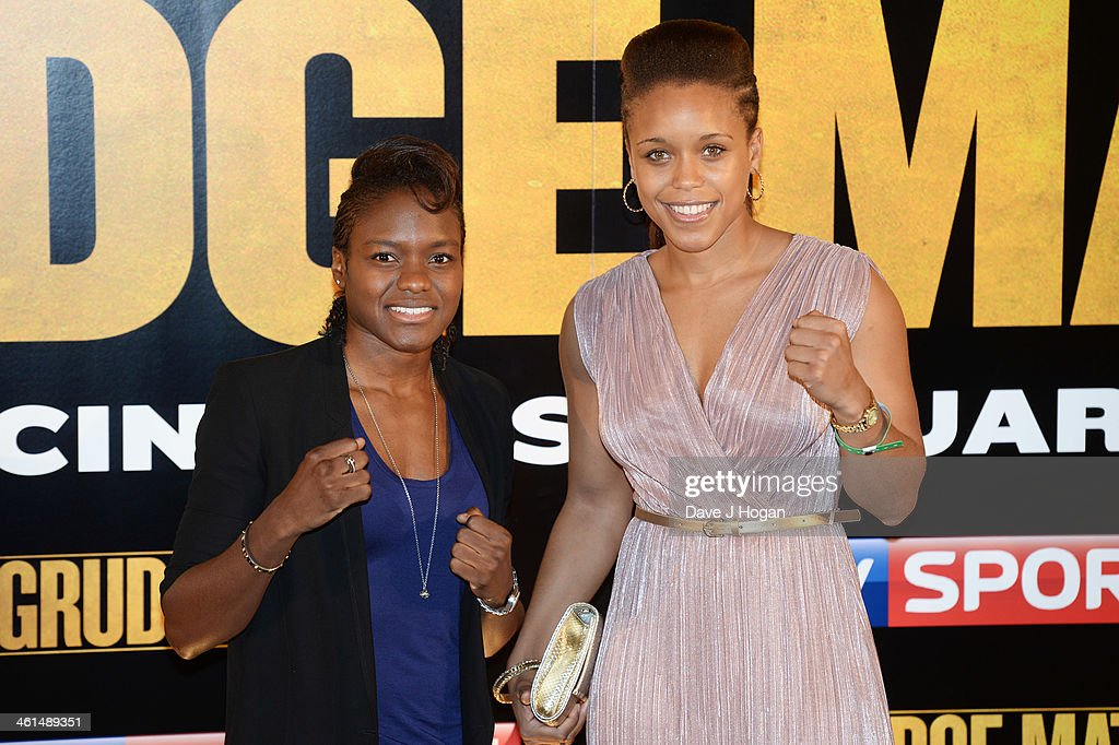 Nicola Adams and Natasha Jonas attend a photo call for 'Grudge Match' at The Dorchester Hotel on January 9, 2014 in London, England.