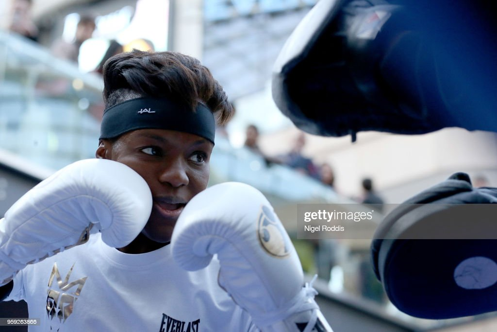 Nicola Adams during a public workout in the Trinity Centre on May 16, 2018 in Leeds, England. Adams will fight on the undercard of the IBF Featherweight World title clash between Lee Selby and Josh Warrington on saturday at Elland Road Stadium in Leeds.