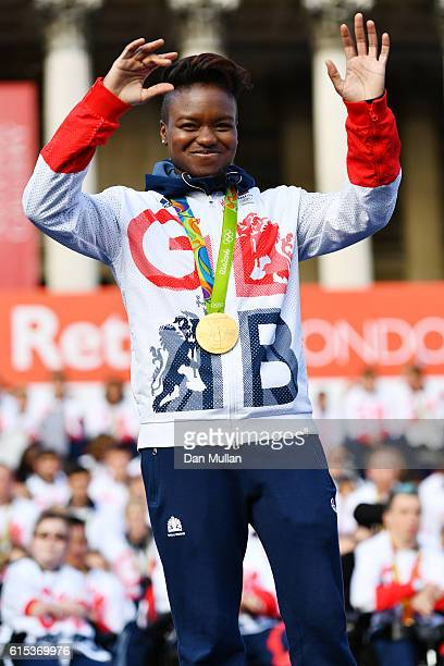 Nicola Adams greets the crowd during the Olympics Paralympics Team GB Rio 2016 Victory Parade at Trafalgar Square on October 18 2016 in London England