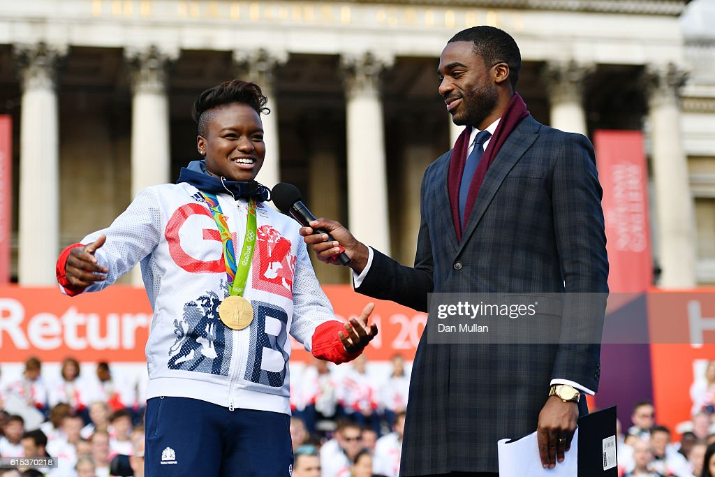 Nicola Adams is interviewed by Ore Oduba during the Olympics & Paralympics Team GB - Rio 2016 Victory Parade at Trafalgar Square on October 18, 2016 in London, England.