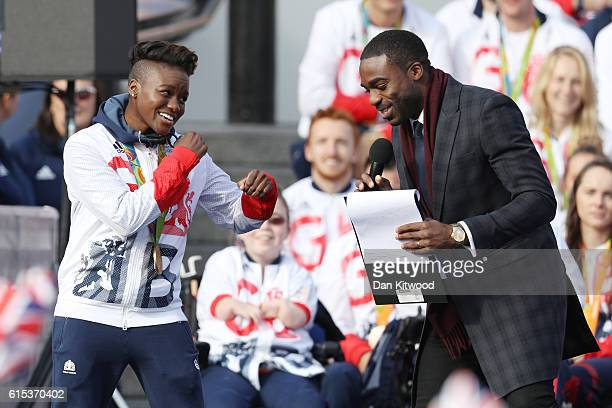 Nicola Adams is interviewed by Ore Oduba during the Olympics Paralympics Team GB Rio 2016 Victory Parade at Trafalgar Square on October 18 2016 in...