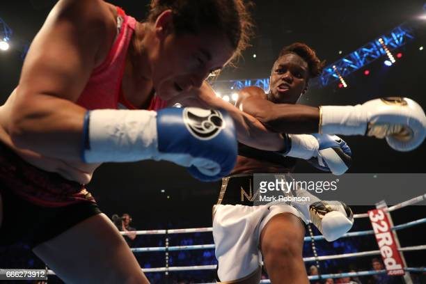 Nicola Adams OBE throws a punch at Virginia Noemi Carcamo during their International Flyweight Contest at Manchester Arena on April 8 2017 in...