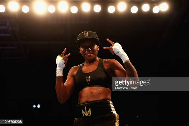 Nicola Adams of England celebrates her win against Isabel Millan of Mexico during the Interim WBO World Female Flyweight Championship contest at...