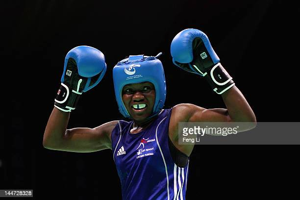 Nicola Adams of England celebrates winning against Elena Savelyeva of Russia in the Women's 51kg semifinals during the AIBA Women's World Boxing...
