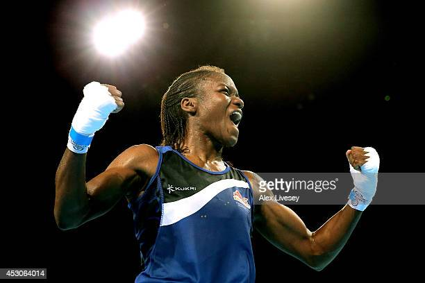 Nicola Adams of England celebrates winning the gold medal against Michaela Walsh of Northern Ireland in the Women's Fly Final at SSE Hydro during day...
