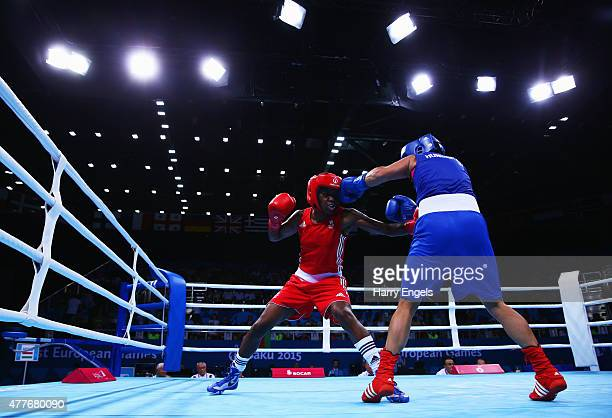 Nicola Adams of Great Britain and Katalin Ancsin of Hungary compete in the Women's Boxing Fly weight 4851kg round of 16 bout during day seven of the...